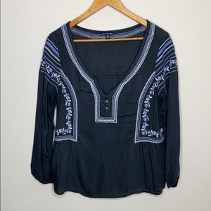 Americal Eagle Peasant top Small BOHO Embroidered